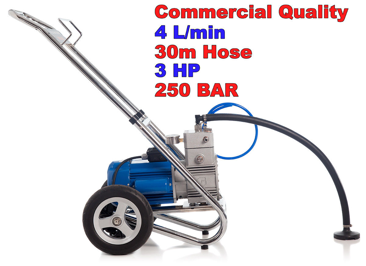 4 5 HP 4000 PSI AIRLESS PAINT SPRAYER 4 L/M 30 M HOSE 3 NOZZLES SPRAY GUN  WAND ROOF PAINT